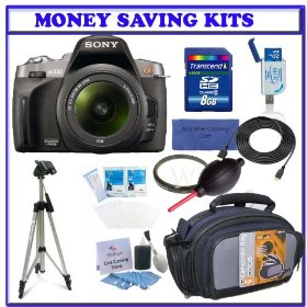 Sony Alpha A330 Digital SLR with 18-55mm Lens (DSLR-A330L) + Transcend 8GB SDHC Secure Digital Memory Card + Heavy Duty Pro Series Tripod + Willoughbys 55mm UV Protective Starter Kit