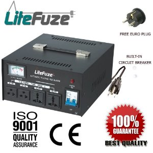 LiteFuze LR-3000 3000 Watt Heavy Duty Voltage Regulator w/ Voltage Converter Transformer - Step Up/Down 110/120/220/240V (Free Euro Plug) - Patented Universal Output Sockets