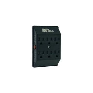 6OUT Datashield Surge Black Direct Plug 750 Joules