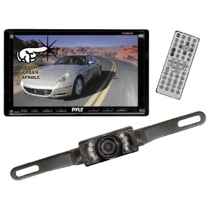 Pyle DVD/Camera Package for Car/Truck/SUV -- PLDN70U 7-Inch Double-DIN Motorized TFT Touchscreen Receiver with DVD/VCD/CD/MP3/MP4/CD-R/USB/SD-MMC Card Slot/AM/FM + PLCM10 License Plate Mount Rear View camera with Night Vision