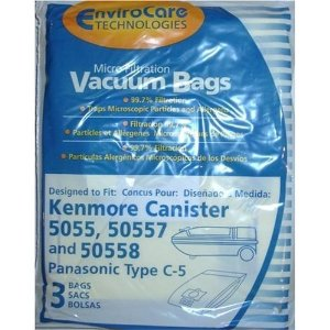 Generic Kenmore Canister Vacuum Cleaner Bags 3 Pack. Style 5055. 50557. and 50558, Also Will Fit Panasonic Style C-5