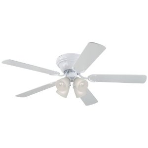 Westinghouse 7871500 Contemporary IV Four-Light 52-Inch Five-Blade Ceiling Fan, White with Frosted Ribbed Globes
