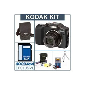Kodak EasyShare Z915 Zoom Digital Camera Kit, - Black - with 4 GB SD Memory Card, Camera Case, Table Top Tripod, Adorama Digital Camera & Lens Cleaning Kit, 4 AA Nickel Metal Hydride (NiMH) 2300 mAH Rechargeable Batteries with with 2-Hour AA & AAA Quick C