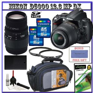 Nikon D5000 Digital SLR Camera w/ 18-55mm VR Lens + Sigma 70-300mm Zoom Lens + Two (2) 16GB SDHC Memory Cards + Spare EN-EL9 Battery + Two (2) UV Glass Protective Filters + Digital Carrying Case + Willoughby's Package II