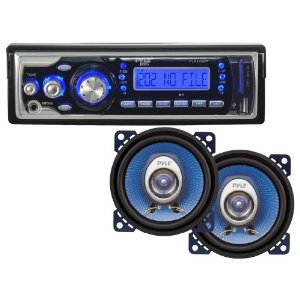 Pyle Audio Package for Car/Truck/SUV -- PLR24MPF AM/FM Receiver MP3 Playback with USB/SD/AUX-IN + PL42BL 4-Inch 180W Two-Way Speakers.
