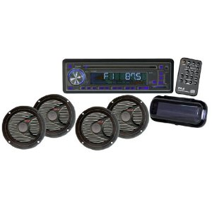 Pyle - PLCD4MRKT; Complete Marine Water Proof 4 Speaker CD/USB/Mp3/Combo w/ Stereo Cover (Black)