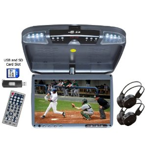 9-inch Wide Screen Overhead Flip Down DVD Player. Incl. 2 Wireless Headphones. Features Built-in Speakers, USB and SD Card Inputs, IR Transmission and Wireless FM Transmitter