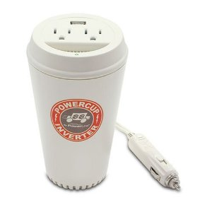 Power Line 0900-66 200-Watt Coffee Cup Inverter with USB Charging Port and Two Outlets