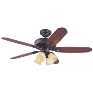 Hunter 25748 The Grand Isle 4-Light 52-Inch 5-Blade Ceiling Fan, New Bronze with Frosted Amber Globes