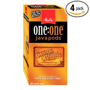 Melitta One:One Java Pods, Creme Brulee Flavored Dark Roast Coffee, 18-Count Pods (Pack of 4)