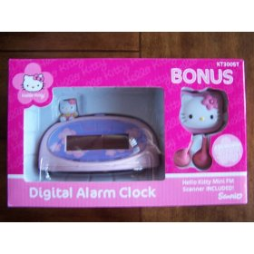 Hello Kitty Digital Alarm Clock with BONUS Mini FM Scanner