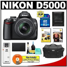 Nikon D5000 Digital SLR Camera w/ 18-55mm VR Lens + 16GB Memory Card + Spare EN-EL9 Battery + Case + Nikon School DVDs + Accessory Kit