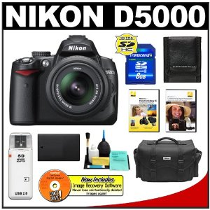 Nikon D5000 Digital SLR Camera w/ 18-55mm VR Lens + 8GB Memory Card + Spare EN-EL9 Battery + Case + Nikon School DVDs + Accessory Kit