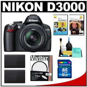 Nikon D3000 Digital SLR Camera & 18-55mm G VR DX AF-S Zoom Lens with 16GB Card + (2x) EN-EL9a Battery + UV Filter + Nikon School DVDs + Cleaning Kit