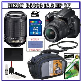 Nikon D5000 Digital SLR Camera w/ 18-55mm VR Lens + Nikon 55-200mm VR Zoom Lens + 16GB Memory Card + Spare EN-EL9 Battery + Case + Willoughby's Package III