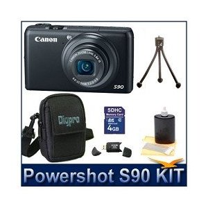 Canon Powershot S90 10MP Wide-angle 3.8x Optical Zoom Digital Camera Bundle w/ 4GB SD Memory, Card Reader, Case and Lens Cleaning Kit