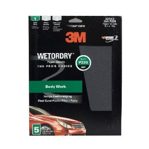 3M Imperial Wetordry Sheet, 9 in x 11 in, Grade P220, Pack of 5 Sheets