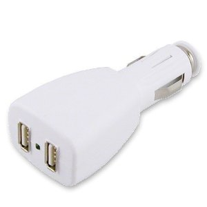 EForCity 2 Port USB In-Car DC Power Charger Adapter + 2Pk Cable