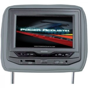 Power Acoustik HDVD-93GR Single 9-Inch Replacement Headrest with DVD and Video Monitor (Gray)