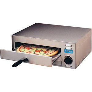 Pizza Oven, countertop, 7-7 8'' x 19-1 8'' x 20-1 2'', s s exterior, 14'' rack, on off operation is controlled by a 15 min. mechanical timer, thermostat is pre-set to 450 degF, upper and lower heating elements, 120 volt, 14