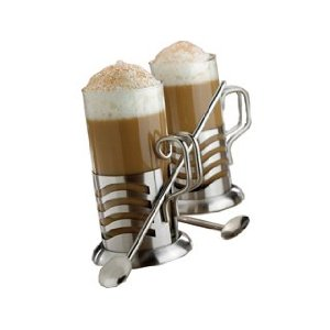 La Cafetiere Wave Tall Latte Glasses and Stirrers, Set of 2, Stainless Steel