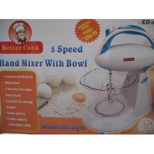 Better Cook 5 Speed Hand Stand Mixer with Bowl