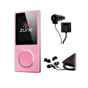 Microsoft Zune 4GB MP3 Player, Pink with FREE Microsoft Zune Car Pack & Microsoft Zune Premium Headphone (v2)