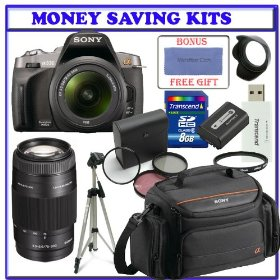 Sony Alpha A330L 10.2 MP Digital SLR Camera with 18-55mm Lens (DSLR-A330) + Sony 75-300mm f/4.5-5.6 Compact Super Telephoto Zoom Lens (SAL75300) + Sony alpha DSLR Soft Carrying Case + (4) Four Multicoat Filter Kit + Extra Sony InfoLithium� Battery