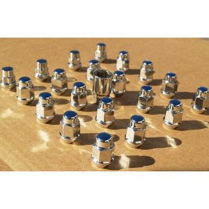 Infiniti / Nissan chrome lug nuts: 12 x 1.25 acorn seat - set of 24