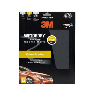 3M Imperial Wetordry Sheet, 9 in x 11 in, Grade P320, Pack of 5 Sheets