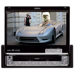 Clarion VRX485VD 7-Inch Single-Din Multimedia Station with Fully Motorized Touch Panel Control and iPod Ready