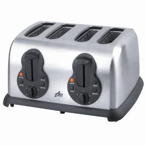 Team TO14244 4-slice toaster, black and stainless steel.