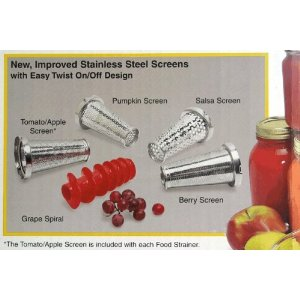 Roma Food Strainer and Sauce Maker Screens - Package of Four (Berry, Pumpkin, Grape, Salsa)