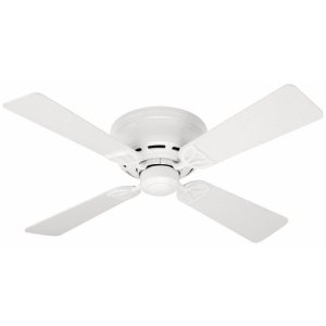 Hunter 23866 Lowprofile III 42-Inch White Ceiling Fan with 4 White Plastic Blades
