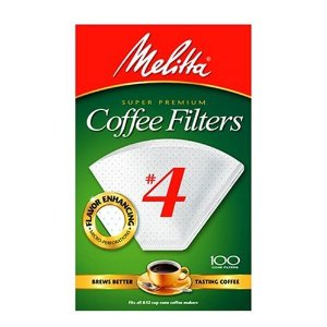 Melitta White Coffee Filter, #4 -100 Count