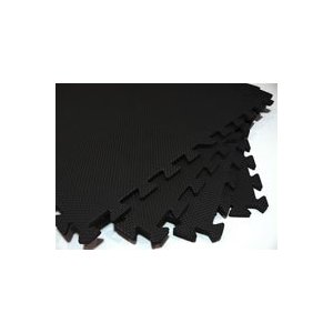 96 Square feet ( 24 tiles + borders) 'We Sell Mats' Black 2' x 2' x 3/8