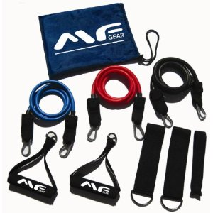 Maximum Fitness Gear Premium 3pc Resistance Bands Clip System (LT, MD & HV) with BONUS Total Body Resistance Band Workout Guide