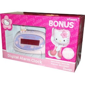 Sanrio Hello Kitty Digital Alarm Clock with Bonus Mini FM Scanner