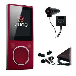 Microsoft Zune 4GB MP3 Player, Red with FREE Microsoft Zune Car Pack & Microsoft Zune Premium Headphone (v2)