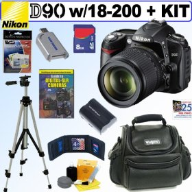 Nikon D90 DX 12.3MP Digital SLR Camera with Sigma AF 18-200mm f/3.5-6.3 DC OS (Optical Stabilizer) Zoom Lens + 8GB Deluxe Accessory Kit