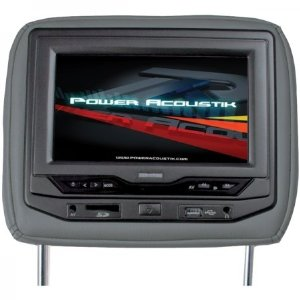 Power Acoustik HDVD-93GRDK Single 9-Inch Replacement Headrest with DVD and Video Monitor (Dark Gray)