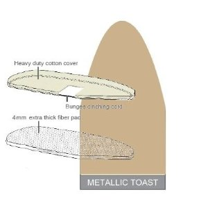 Ironing Board Cover & Pad One-Piece Specialty (43x13) Metallic Toast - Polder #IBC-9243-160