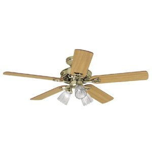 Hunter 22436 Sontera Three-Light 52-Inch Five-Blade Ceiling Fan, Bright Brass with Clear Globes
