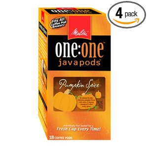 Melitta One:One Java Pods, Pumpkins Spice Flavored Coffee, 18-Count Pods (Pack of 4)