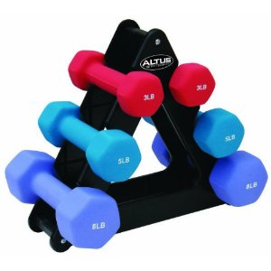 Altus Athletic Altus 32-Pound Dumbbell Set with Stand