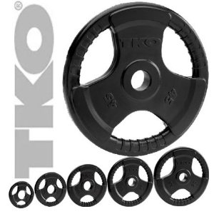 TKO 802OR-BK Tri Grip Olympic Weight Plates 255 lb set