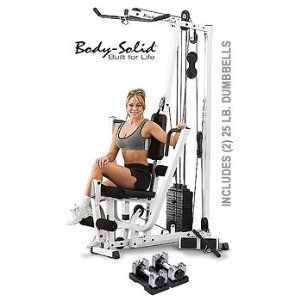Body Solid EXM1500S Home Gym Plus (2) 25 lb. Bayou Adjustable Dumbbells