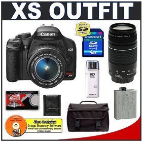 Canon Digital Rebel XS 10.1MP Digital SLR Camera (Black) + Canon EF-S 18-55mm IS Lens + Canon EF 75-300mm III Lens + Spare LP-E5 Battery + 4GB Card + Gadget Bag