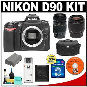 Nikon D90 Digital SLR Camera + Tamron 28-80mm + 70-300mm Di Macro Lens + 16GB Card + EN-EL3e Battery + Case + Cameta Bonus Accessory Kit