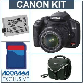 Canon EOS Digital Rebel XSi SLR Camera/ Lens Kit Black with EF-S 18-55mm f/3.5-5.6 IS Lens, 4 GB SD Memory Card, Spare LP-E5 Lithium-Ion Rechargeable Battery, Slinger Camera Bag